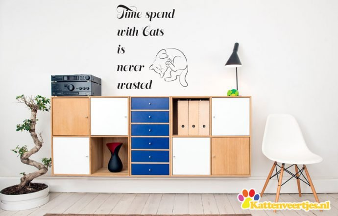 muursticker time spend with cats
