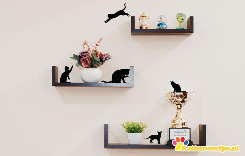 voorbeeld muursticker cat_silhouettes
