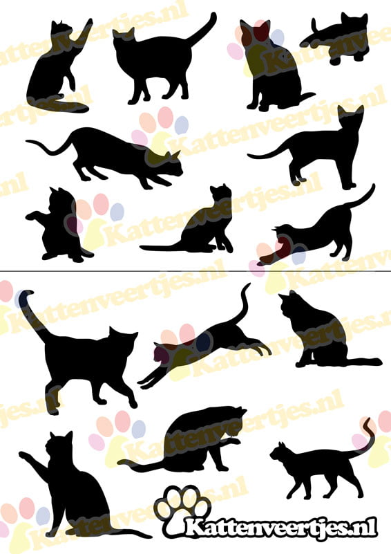 muursticker cat_silhouettes