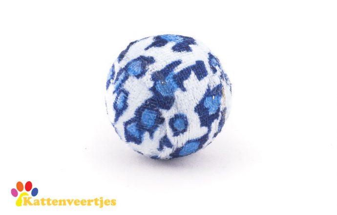 Blauwe kattenspeelgoed balletje met tijgerprint met geluid