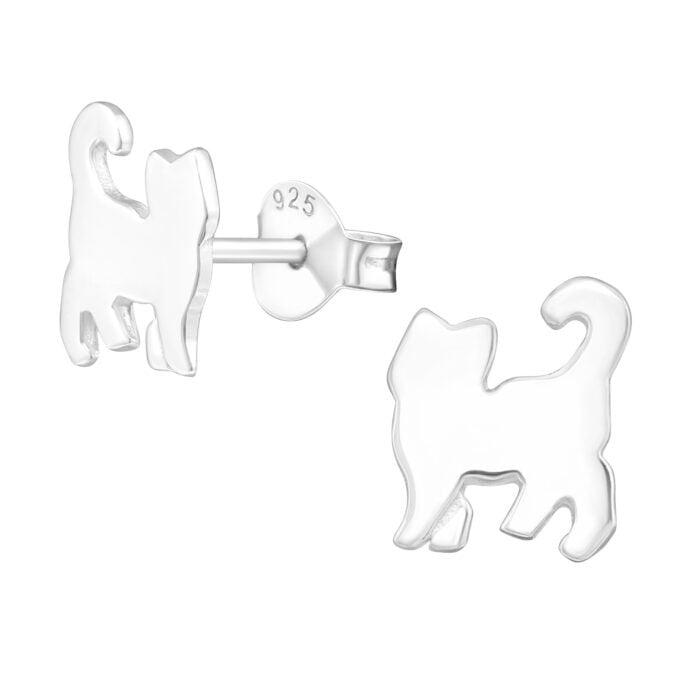 Zilveren katten oorbellen