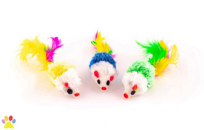 muisjes met kleurrijke verenstaart