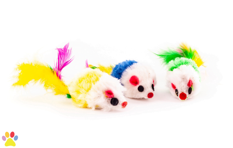muis met kleurrijke verenstaart