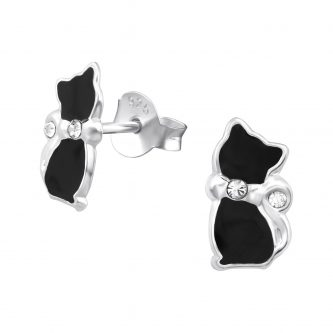 Zwart kat oorbellen met strik en diamantje